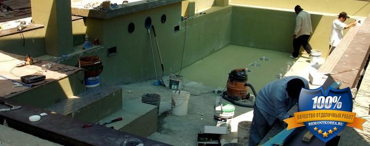 Монтаж мозаики в бассейне